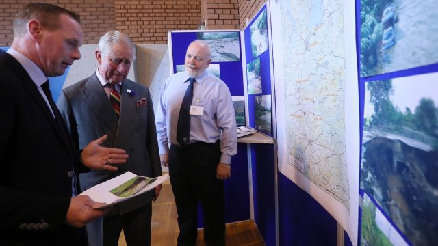The Prince of Wales during a visit to communities hit by the summer's flash floods