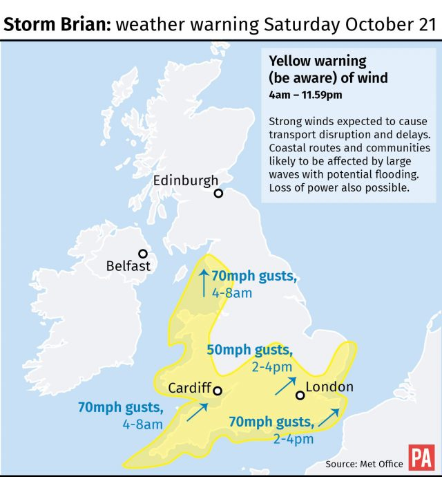 Storm Brian: weather warning Saturday October 21