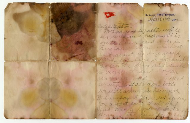 The handwritten note, on oversized embossed Titanic stationery, was penned on April 13, 1912