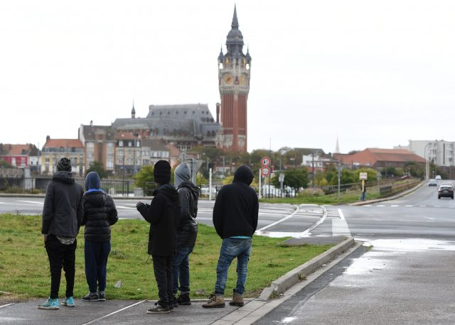 Migrants from Ethiopia on the streets of Calais