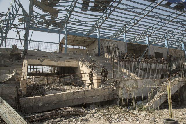 Wrecked buildings in Raqqa