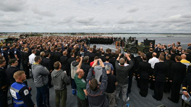 Thousands welcomed HMS Queen Elizabeth to Portsmouth in August