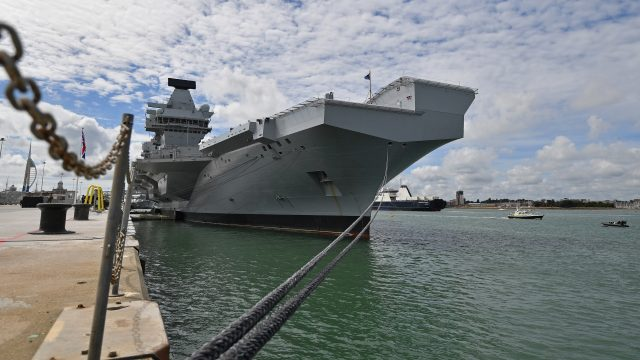 The HMS Queen Elizabeth is scheduled to leave Portsmouth Naval Base at some point in the next few days