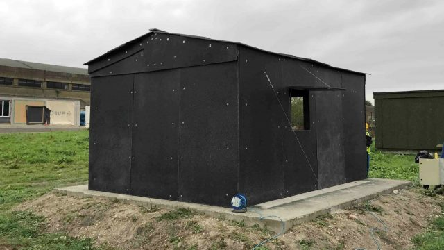 One of the recyclable plastic-based shelters at the test site (University of Bath/PA)