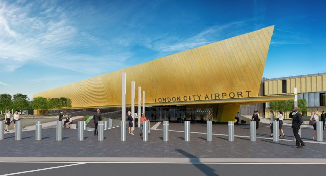 An artist's impression of front of the terminal at London City Airport after its £400 million redevelopment