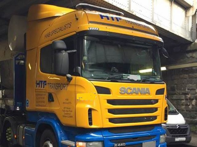 This lorry became stuck under a bridge in Cardiff