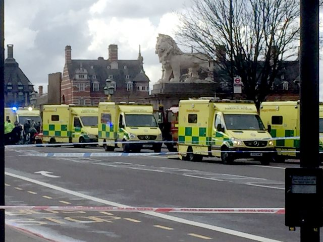 Ambulances on Westminster Bridge following the terror attack in March