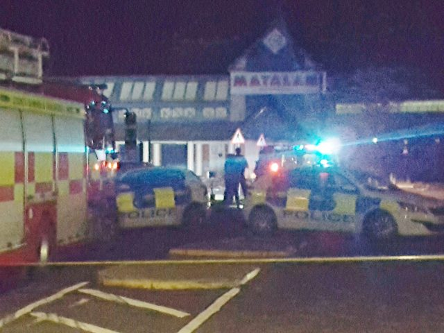 Emergency services outside the Matalan store