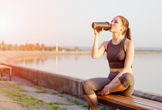 Generic photo of young woman in fitness clothing drinking from a drinks bottle (Thinkstock/PA)