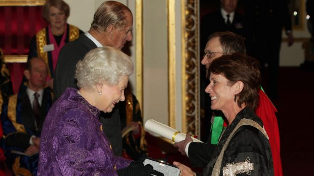 Queen Elizabeth II and The Duke of Edinburgh present a Royal Anniversary Prize for Higher and Further Education to Professor Louise Richardson