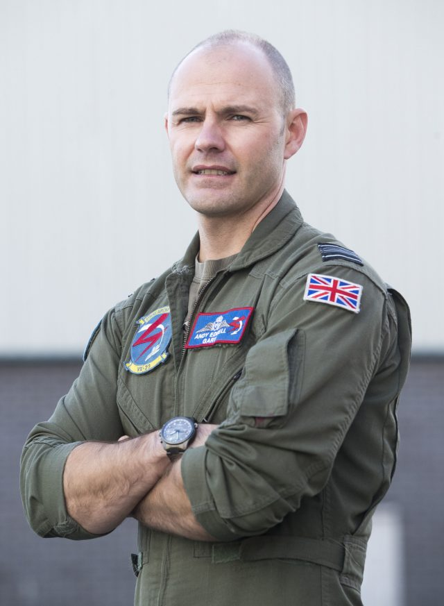Royal Air Force Squadron Leader Andy Edgell, the UK's lead test pilot, at BAE Systems in Warton, Lancashire