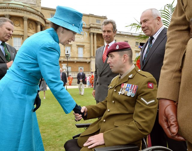 The Princess Royal talks to Lance Bombardier Ben Parkinson in 2013