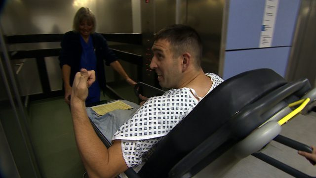 Lance Bombardier Ben Parkinson, the most seriously injured British soldier to survive an attack in Afghanistan, on route to surgery which he is hoping will help him achieve his dream of walking again