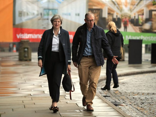Prime Minister Theresa May and her husband Philip arrive at the Conservative Party conference in Manchester