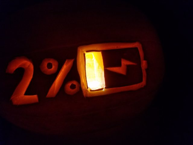 Lit up battery percentage pumpkin