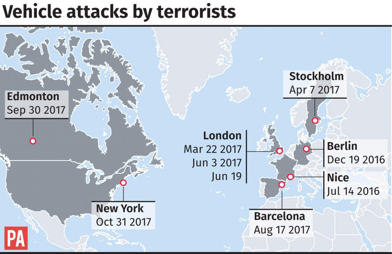 Graphic locates terrorist attacks using vehicles