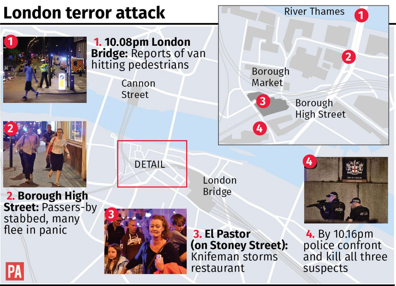 Map locates attacks in central London