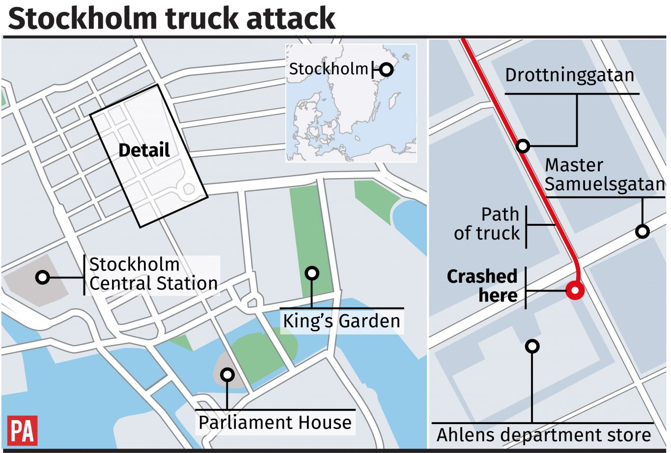 Stockholm truck attack, route of the truck