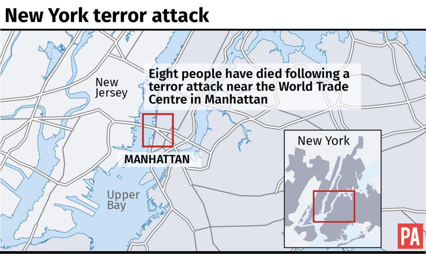 Map locates terror attack in New York