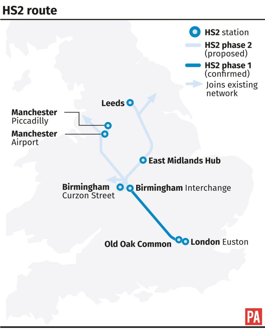 The HS2 route