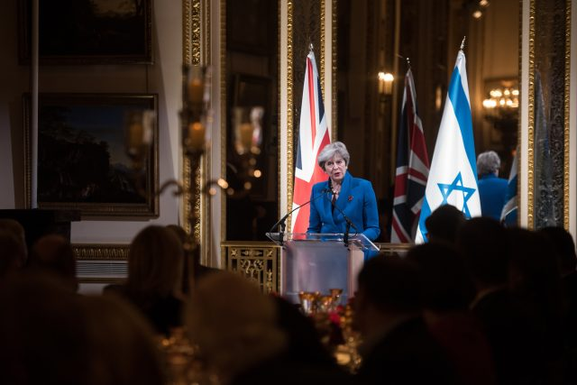 Theresa May speaks at the Balfour 100 Dinner at Lancaster House