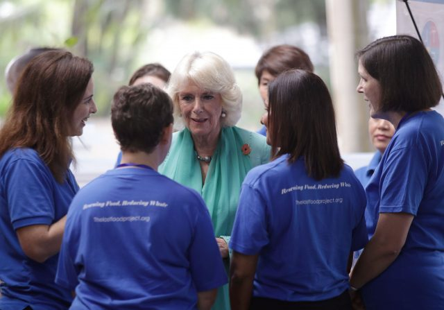 The Duchess of Cornwall meeting staff during a visit to The Lost Food Project - the first professional food bank in Malaysia, reclaiming high quality surplus food from supermarkets and manufacturers, sorting and distributing them to a wide variety of charities on a non-discriminatory basis - at The Lighthouse Children's Welfare Centre, in Kuala Lumpur, Malaysia. The Lighthouse Children's Welfare Home houses 60 disadvantaged children, aged one to 18 years old.