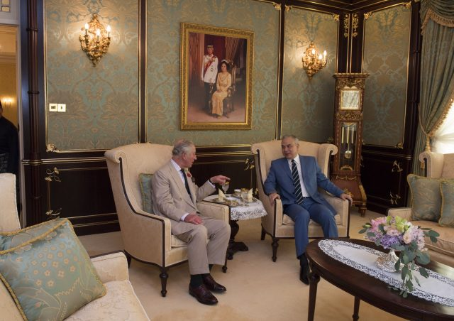 The Prince of Wales (left) meets His Royal Highness Sultan Nazrin Shah of Perak, Deputy Agong of Malaysia, at his official residence, the Istana Iskandariah, in the royal town of Kuala Kangsar, Malaysia during his 11-day autumn tour of Asia.