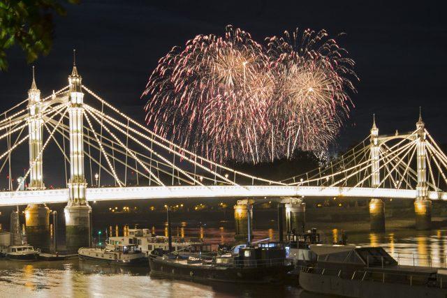 The Battersea Park fireworks over Albert Bridge, in London