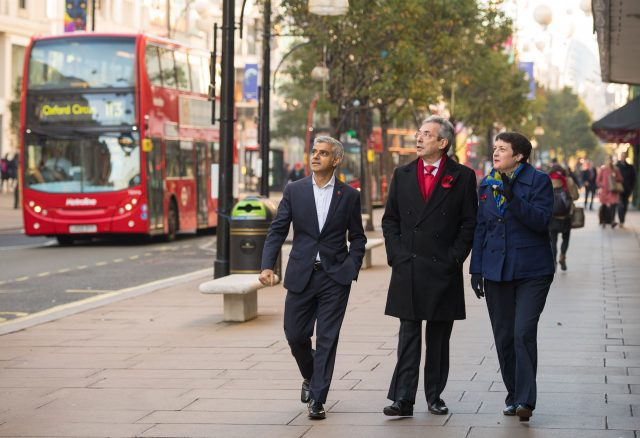 Mayor of London Sadiq Khan, left, Deputy Leader of Westminster Council Robert Davis and Deputy Mayor of London for Transport Val Shawcross on Oxford Street