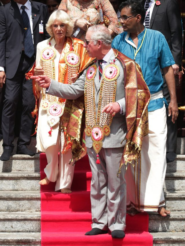 The Prince of Wales and The Duchess of Cornwall during a visit to Sri Mahamariamman Temple in Penang, Malaysia