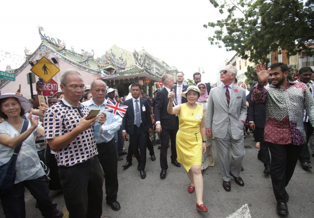 The Prince of Wales during a walkabout in Penang, Malaysia