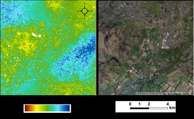 The relative land motion map showing uplift due to groundwater recovery in the former underground coal mines of East Lothian, left, against an aerial photograph of the same area shown on the right