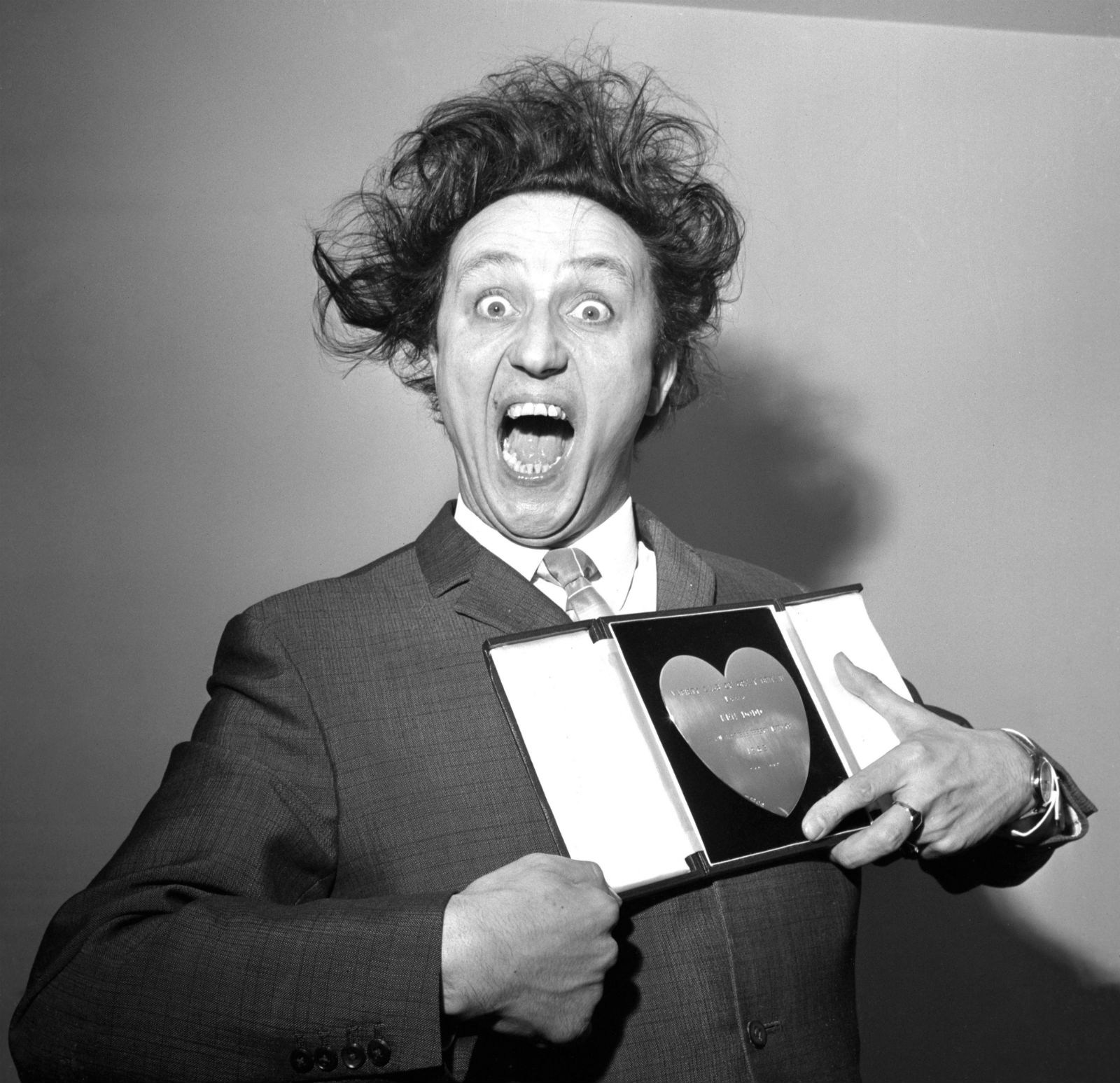 Ken Dodd picks up his Show Business Personality of the Year award in 1966