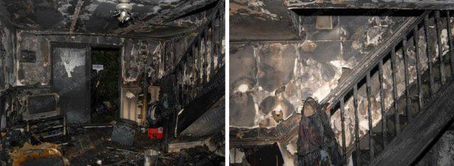 Firework damage inside a property in Birchtrees Drive in Tile Cross, Birmingham