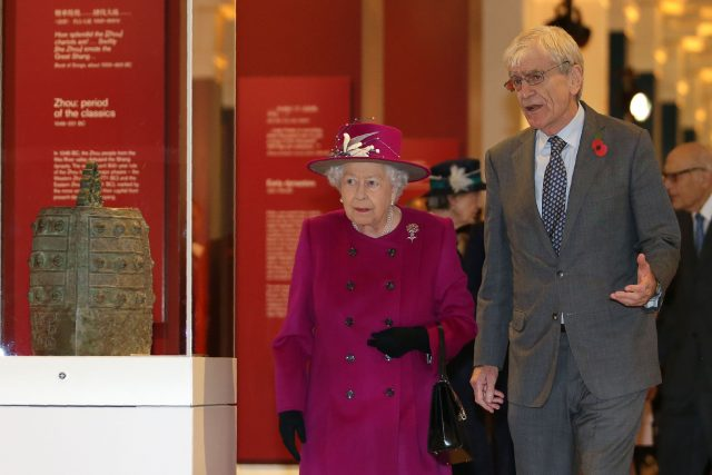 The Queen with Sir Richard Lambert, chairman of the trustees of the British Museum
