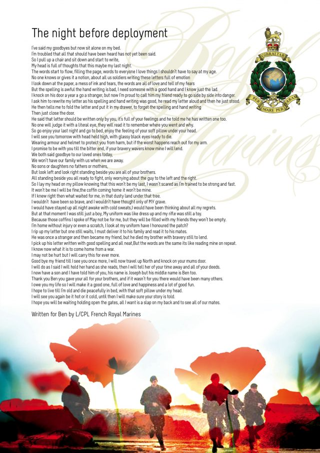 A poem written in tribute to those who have fallen in conflicts