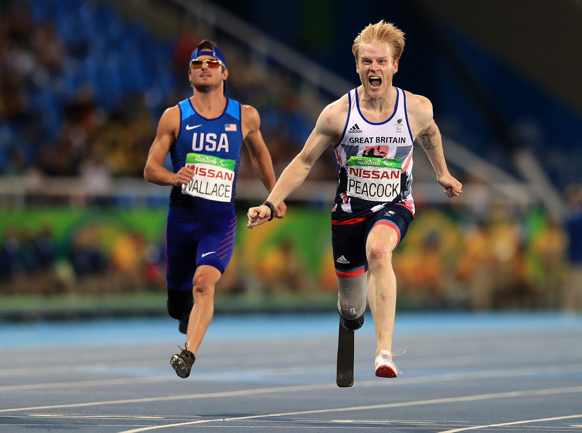 Jonnie Peacock celebrates winning Gold during the Men's 100m - T44 final during the second day of the 2016 Rio Paralympic Games, Brazil. (Adam Davy/PA)