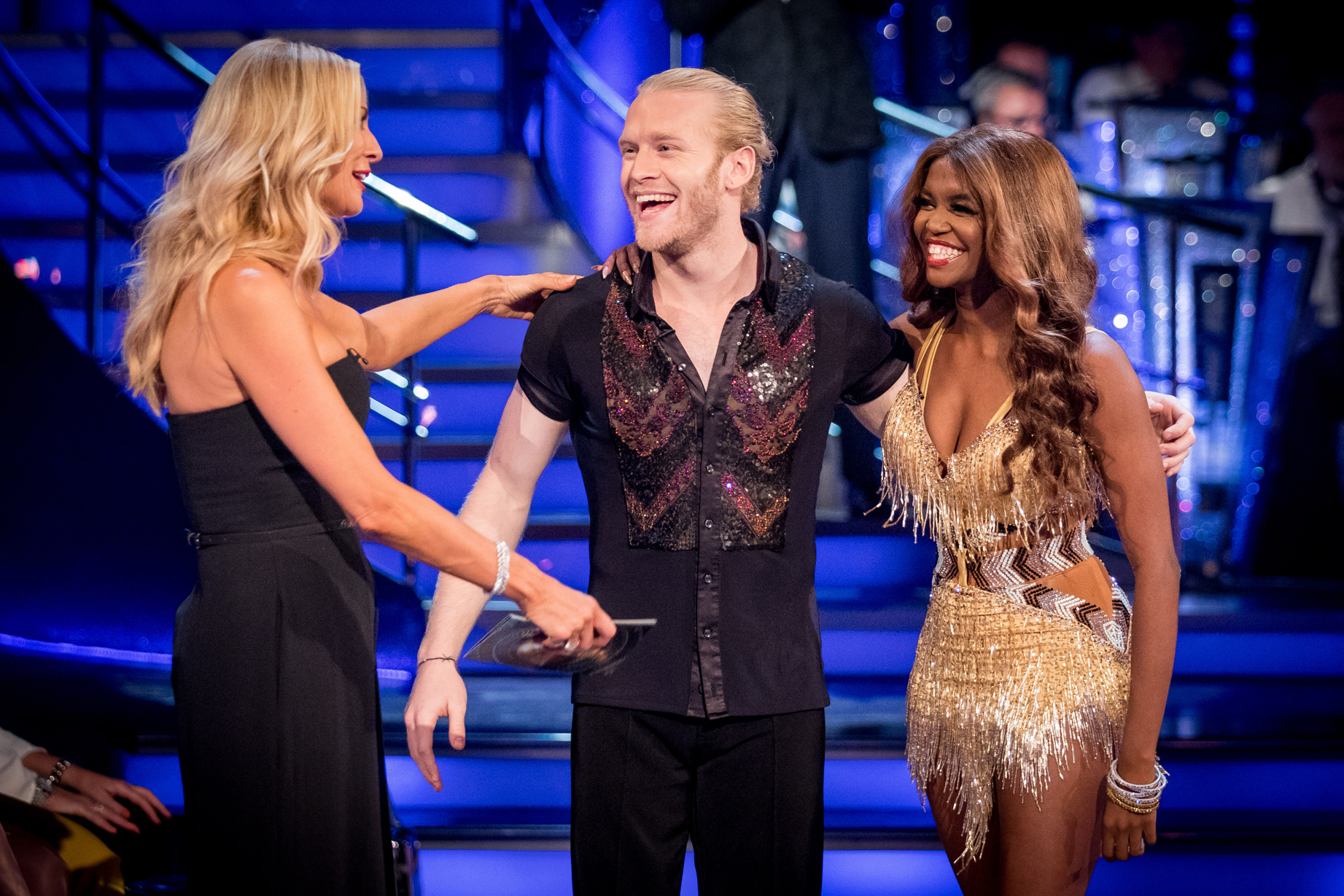 Presenter, Tess Daly, Jonnie Peacock and his partner, Oti Mabuse on Strictly Come Dancing 2017. (Guy Levy/BBC/Strictly Come Dancing/PA)
