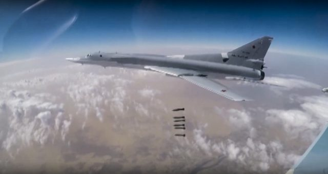 A Russian bomber strikes IS targets in Syria