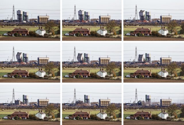 Composite of the tower toppling (Danny Lawson/PA)