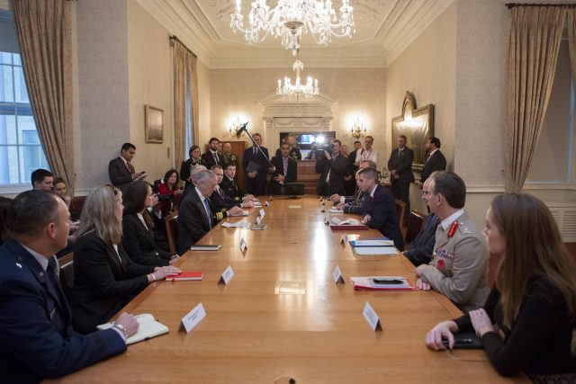 Gavin Williamson and James Mattis attend a bilateral meeting at the Ministry of Defence in London