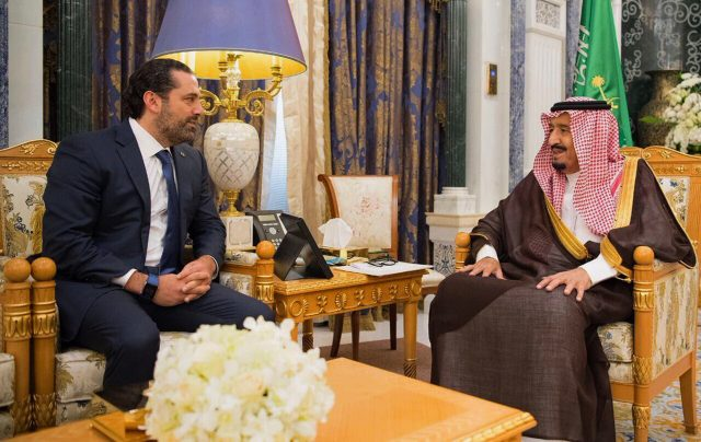 Saudi King Salman, right, meets with outgoing Lebanese Prime Minister Saad Hariri in Riyadh, Saudi Arabia
