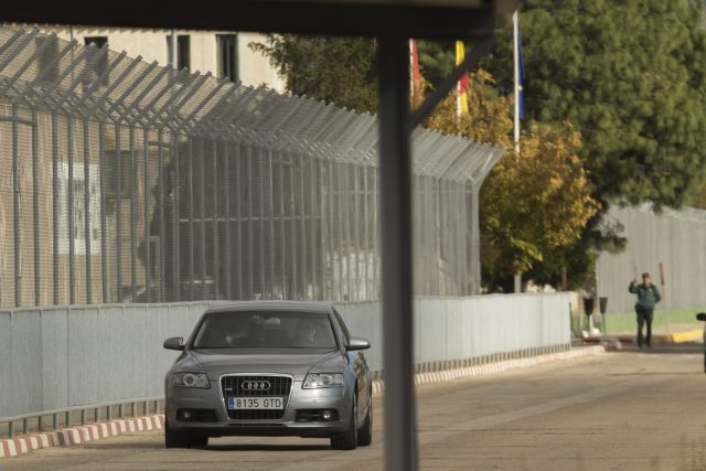 Carme Forcadell is driven in a car out of the Alcala-Meco prison in Alcala de Henares, near Madrid