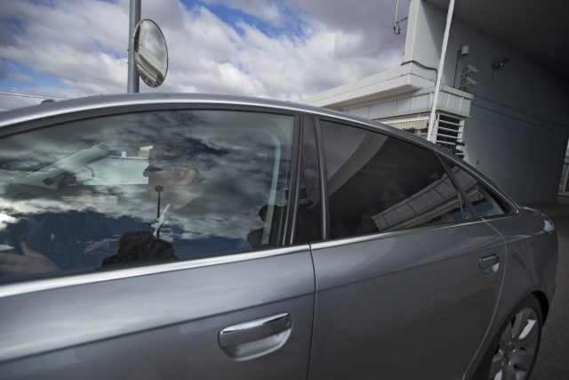 Carme Forcadell, in the rear seat, is driven out of the Alcala-Meco prison in Alcala de Henares, near Madrid