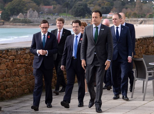 Council members including Chief Minister of Jersey Ian Gorst, James Brokenshire and Leo Varadkar ahead of a meeting of the British Irish Council at the Hotel L'Horizon in Jersey