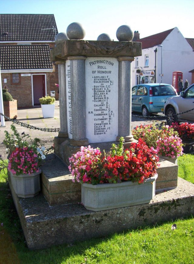 Patrington War Memorial in Holderness, Humberside