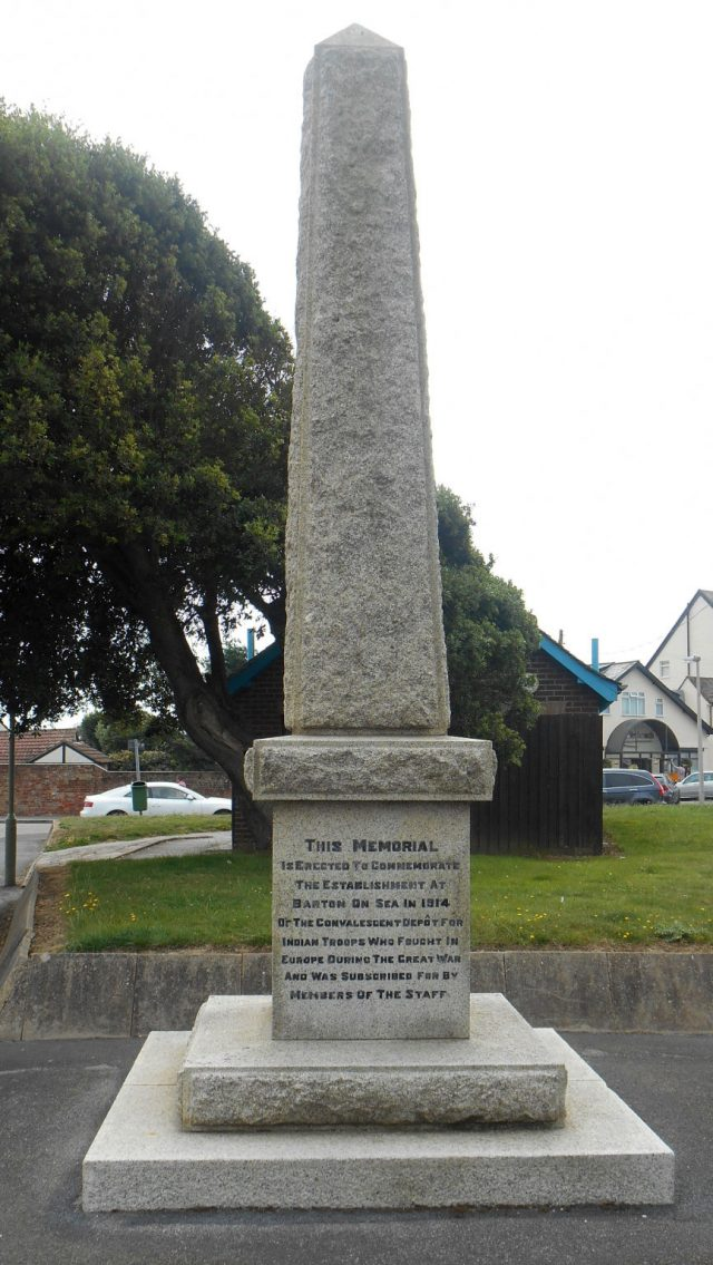The Memorial Obelisk to Convalescent Depot for Indian Troops in Barton-on-Sea, Hampshire