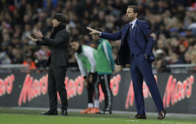 Gareth Southgate, right, watches on at Wembley