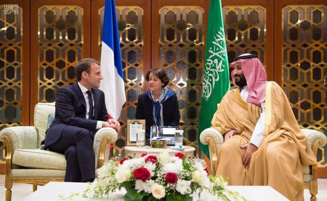 Saudi Crown Prince Mohammed bin Salman with Emmanuel Macron