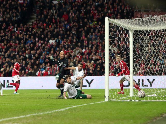 Celta Vigo winger Pione Sisto misses from close range for Denmark (Niall Carson/PA)